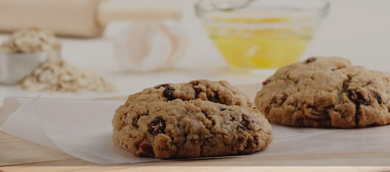 two oatmeal raisin cookies